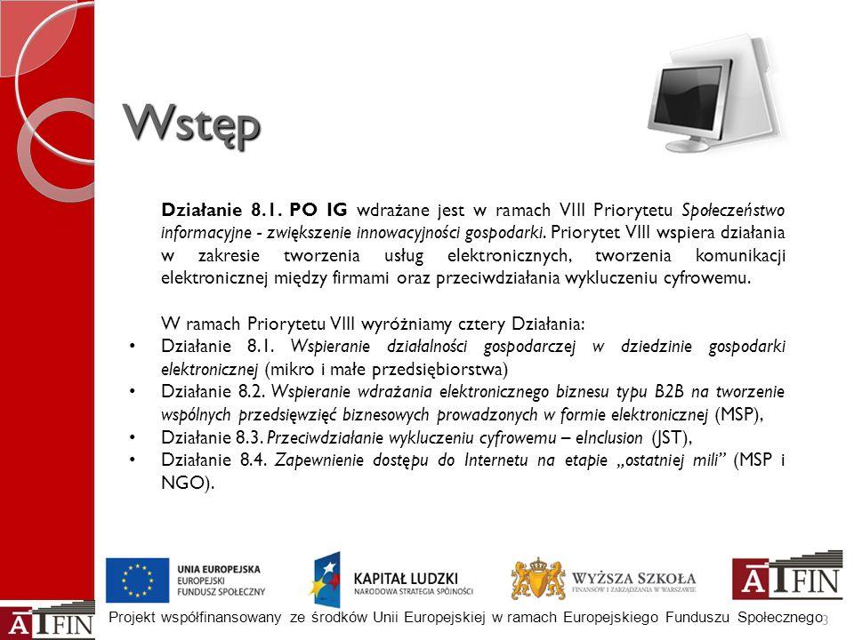 Projekt współfinansowany ze środków Unii Europejskiej w ramach Europejskiego Funduszu Społecznego Wstęp 3 Działanie 8.1. PO IG wdrażane jest w ramach