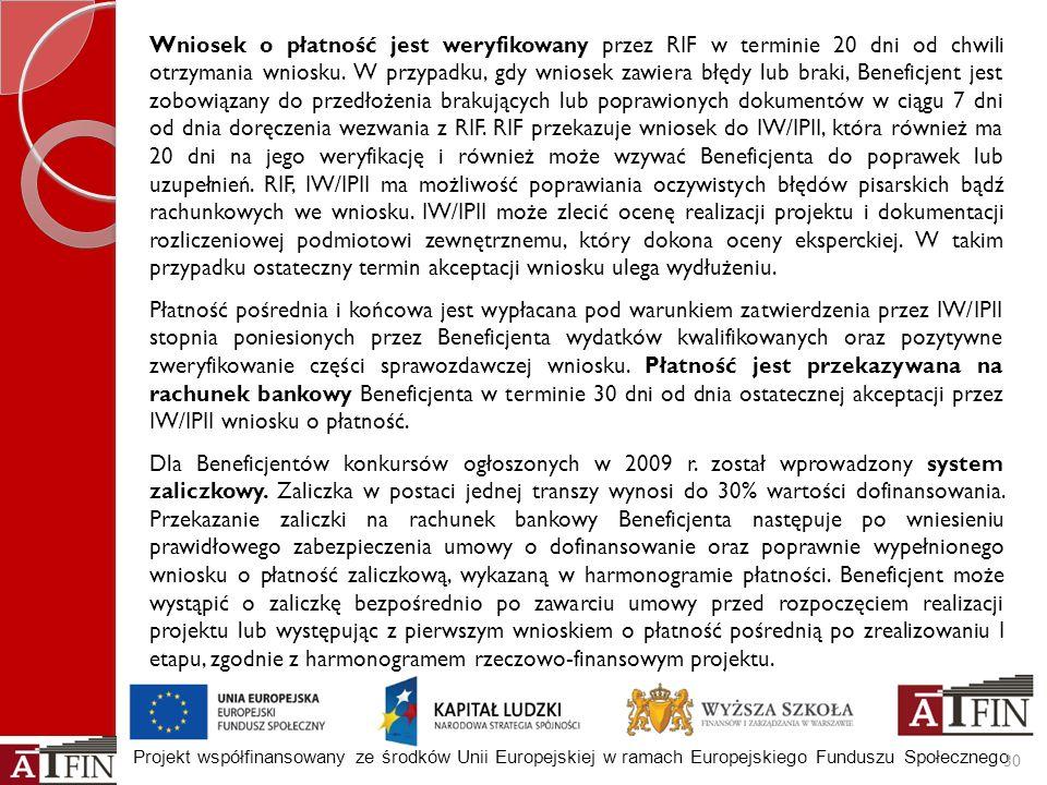Projekt współfinansowany ze środków Unii Europejskiej w ramach Europejskiego Funduszu Społecznego 30 Wniosek o płatność jest weryfikowany przez RIF w