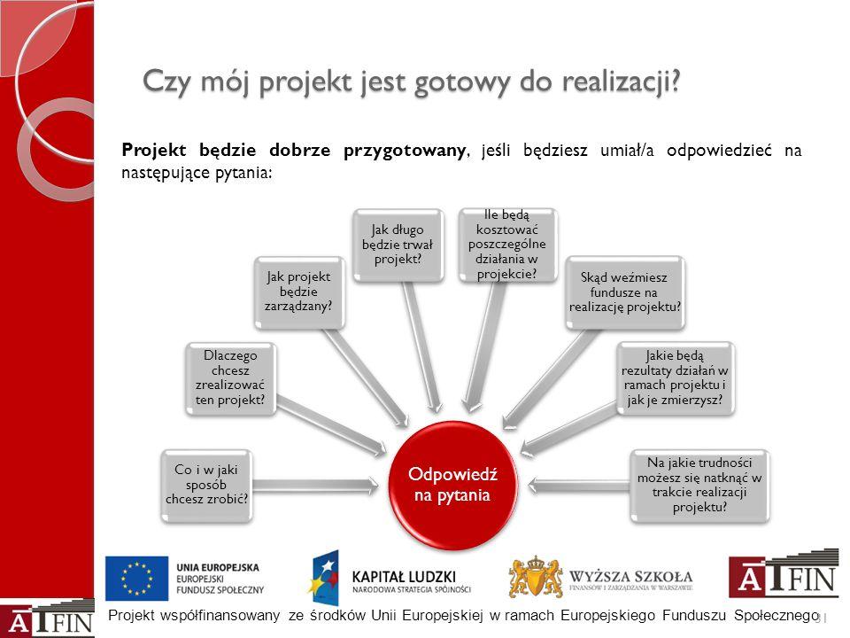 Projekt współfinansowany ze środków Unii Europejskiej w ramach Europejskiego Funduszu Społecznego Czy mój projekt jest gotowy do realizacji? 31 Projek