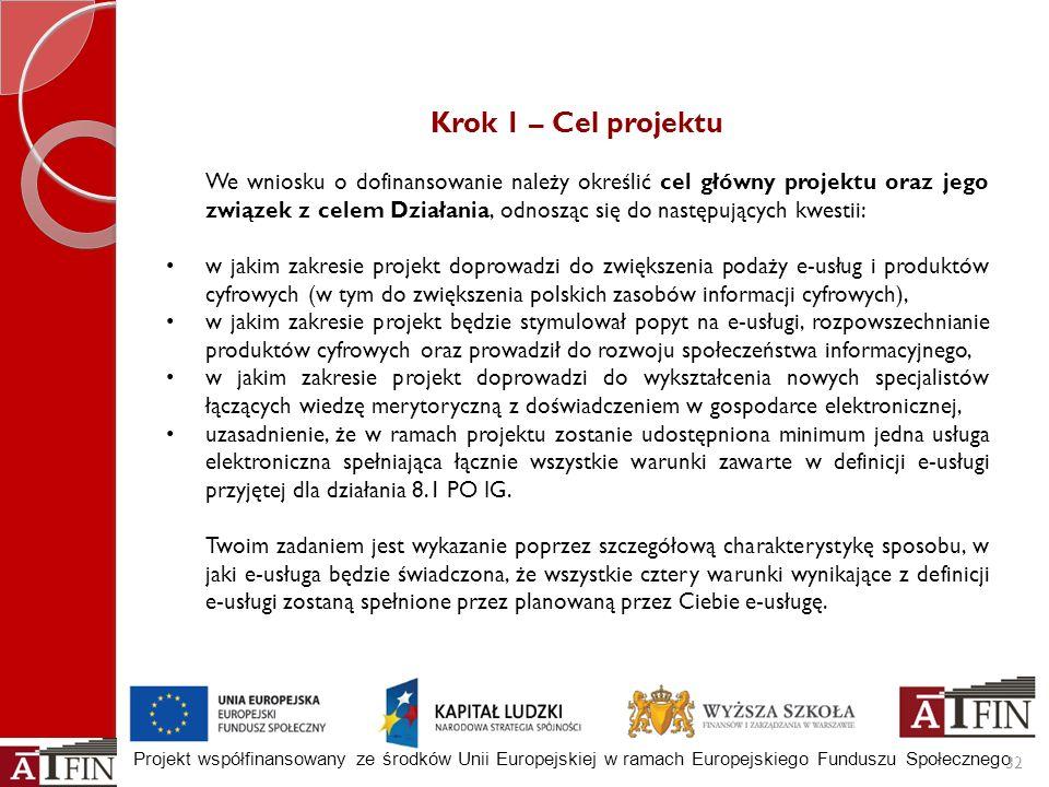 Projekt współfinansowany ze środków Unii Europejskiej w ramach Europejskiego Funduszu Społecznego 32 Krok 1 – Cel projektu We wniosku o dofinansowanie