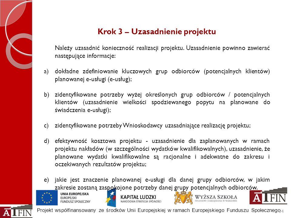 Projekt współfinansowany ze środków Unii Europejskiej w ramach Europejskiego Funduszu Społecznego 34 Krok 3 – Uzasadnienie projektu Należy uzasadnić k