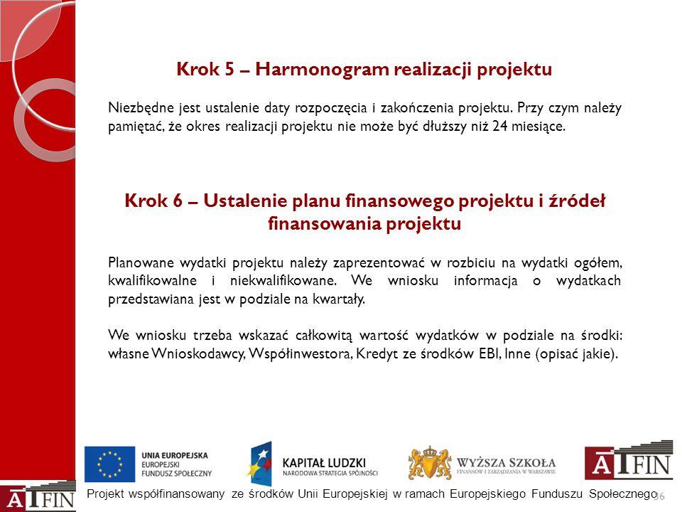 Projekt współfinansowany ze środków Unii Europejskiej w ramach Europejskiego Funduszu Społecznego 36 Krok 5 – Harmonogram realizacji projektu Niezbędn