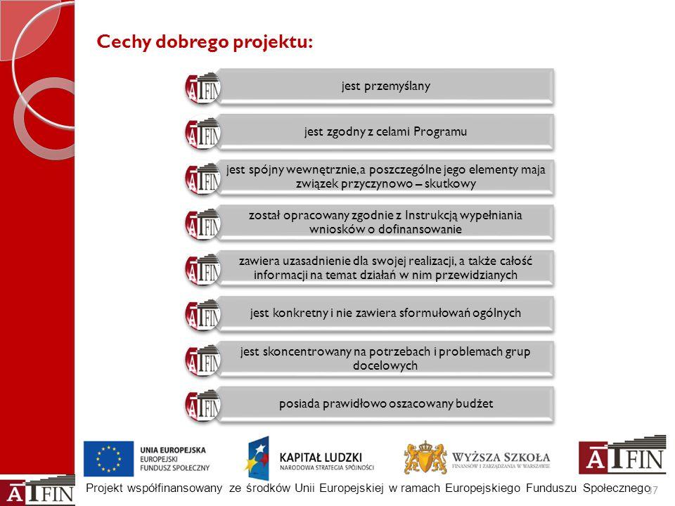 Projekt współfinansowany ze środków Unii Europejskiej w ramach Europejskiego Funduszu Społecznego 37 Cechy dobrego projektu: jest przemyślany jest zgo
