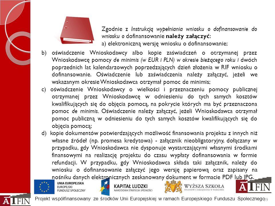 Projekt współfinansowany ze środków Unii Europejskiej w ramach Europejskiego Funduszu Społecznego b) oświadczenie Wnioskodawcy albo kopie zaświadczeń
