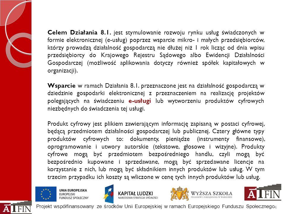 Projekt współfinansowany ze środków Unii Europejskiej w ramach Europejskiego Funduszu Społecznego 4 Celem Działania 8.1. jest stymulowanie rozwoju ryn