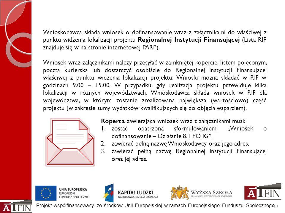 Projekt współfinansowany ze środków Unii Europejskiej w ramach Europejskiego Funduszu Społecznego Wnioskodawca składa wniosek o dofinansowanie wraz z