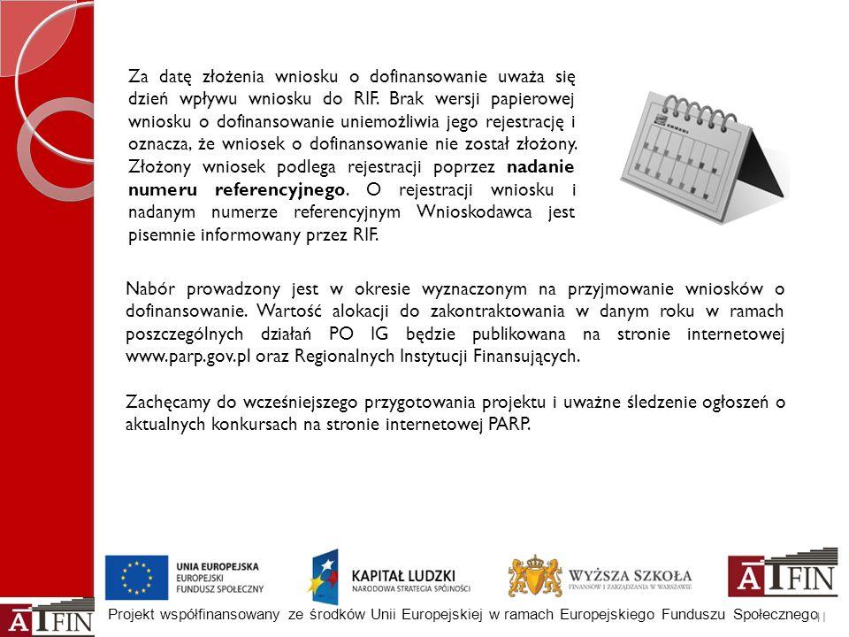 Projekt współfinansowany ze środków Unii Europejskiej w ramach Europejskiego Funduszu Społecznego Nabór prowadzony jest w okresie wyznaczonym na przyj