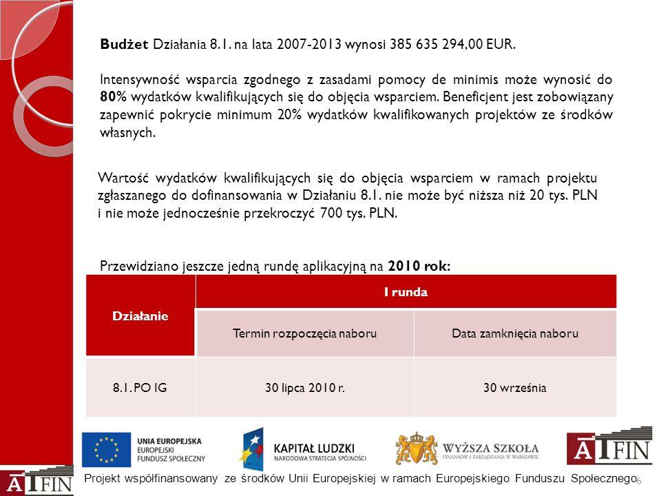 Projekt współfinansowany ze środków Unii Europejskiej w ramach Europejskiego Funduszu Społecznego Wartość wydatków kwalifikujących się do objęcia wspa