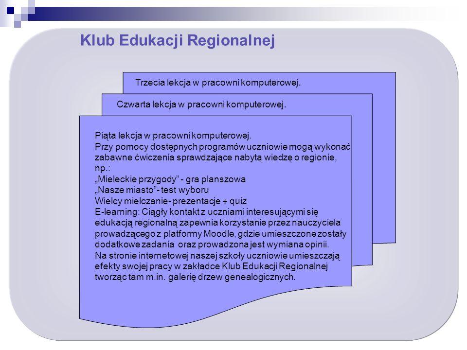 Klub Edukacji Regionalnej Piąta lekcja w pracowni komputerowej.
