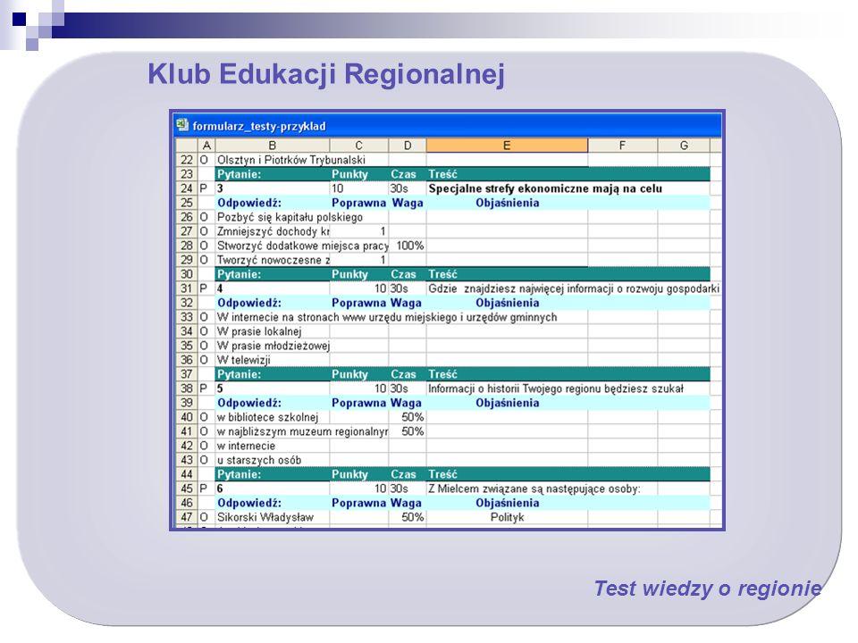 Klub Edukacji Regionalnej Test wiedzy o regionie