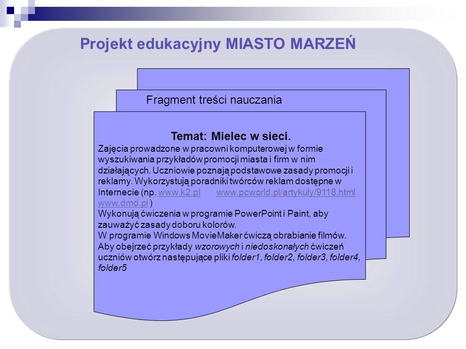 Projekt edukacyjny MIASTO MARZEŃ Temat: Mielec w sieci.