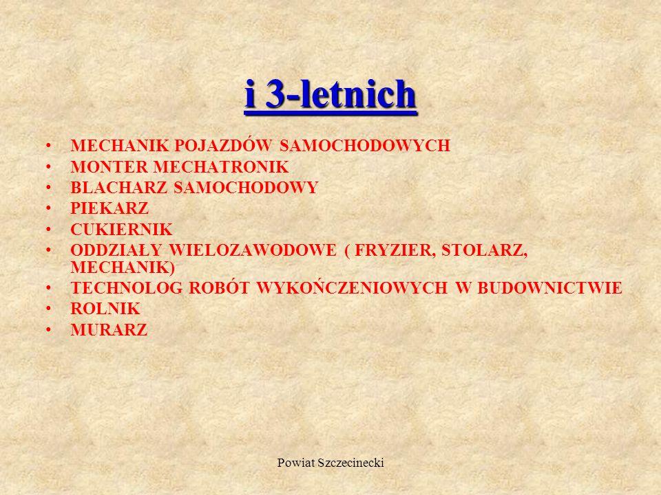 Powiat Szczecinecki Zasadnicze szkoły zawodowe w Powiecie Szczecineckim przygotowują do zdobycia kwalifikacji zawodowych w zawodach: 2 -letnich KUCHAR