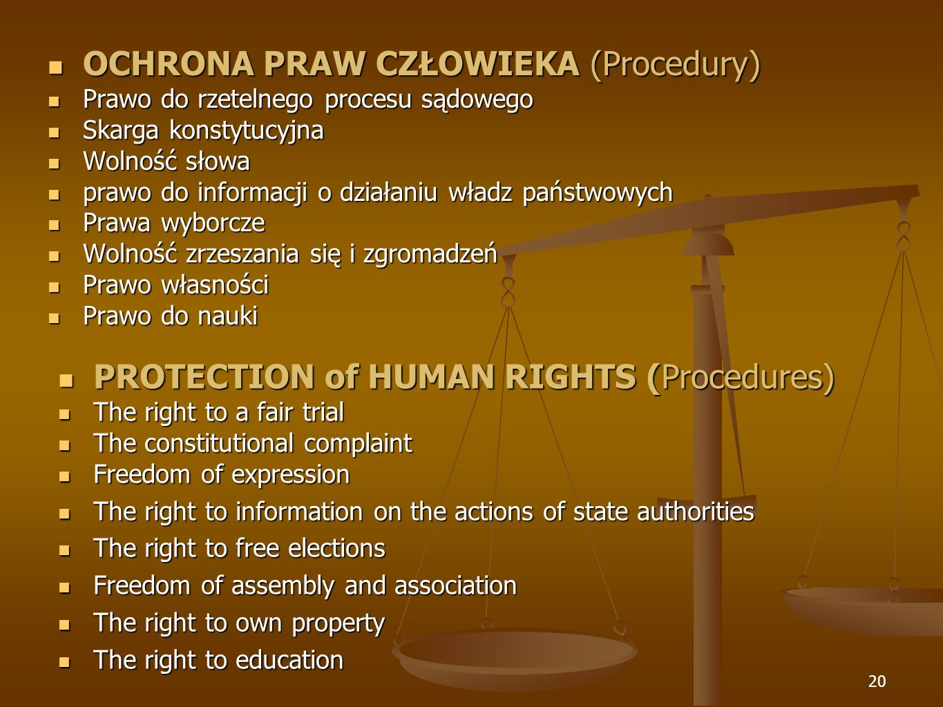 20 PROTECTION of HUMAN RIGHTS (Procedures) PROTECTION of HUMAN RIGHTS (Procedures) The right to a fair trial The right to a fair trial The constitutio