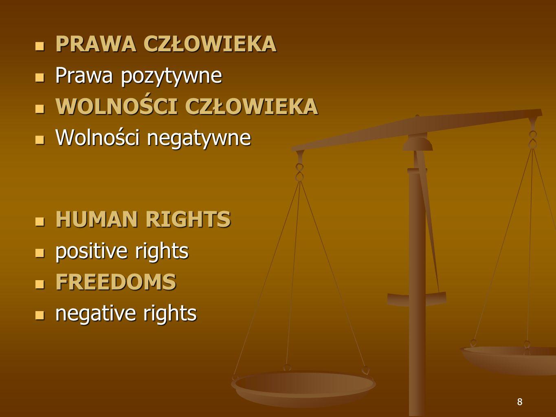 8 HUMAN RIGHTS HUMAN RIGHTS positive rights positive rights FREEDOMS FREEDOMS negative rights negative rights PRAWA CZŁOWIEKA Prawa pozytywne WOLNOŚCI