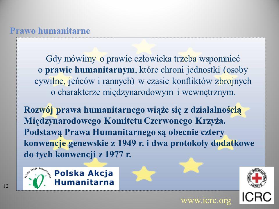 Gdy mówimy o prawie człowieka trzeba wspomnieć o prawie humanitarnym, które chroni jednostki (osoby cywilne, jeńców i rannych) w czasie konfliktów zbr