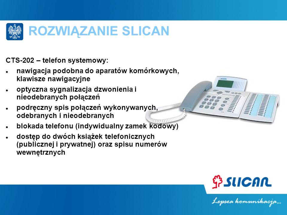 ROZWIĄZANIE SLICAN CTS-202 – telefon systemowy: nawigacja podobna do aparatów komórkowych, klawisze nawigacyjne optyczna sygnalizacja dzwonienia i nie