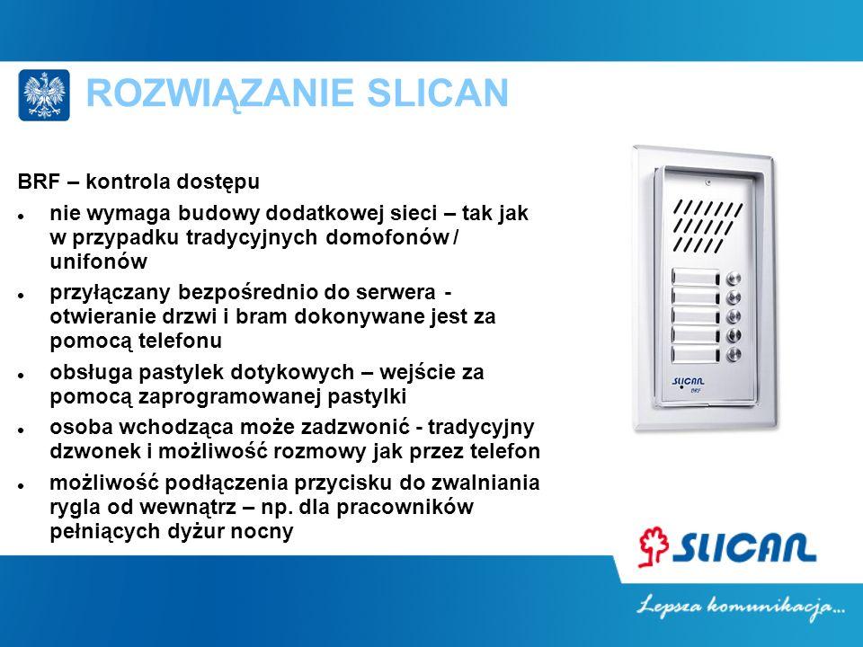 ROZWIĄZANIE SLICAN BRF – kontrola dostępu nie wymaga budowy dodatkowej sieci – tak jak w przypadku tradycyjnych domofonów / unifonów przyłączany bezpo