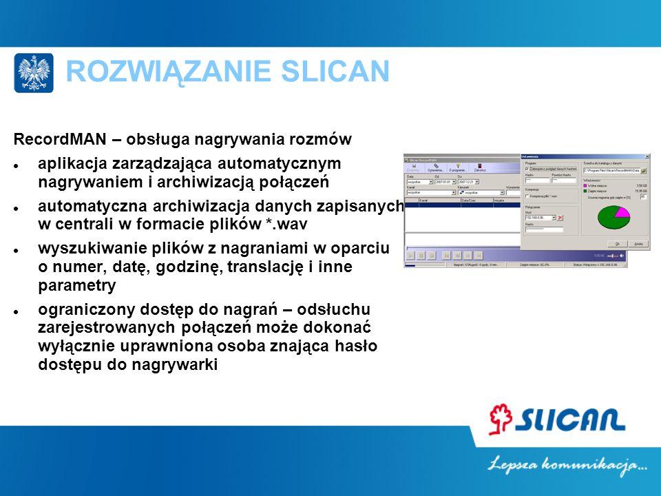 ROZWIĄZANIE SLICAN RecordMAN – obsługa nagrywania rozmów aplikacja zarządzająca automatycznym nagrywaniem i archiwizacją połączeń automatyczna archiwi