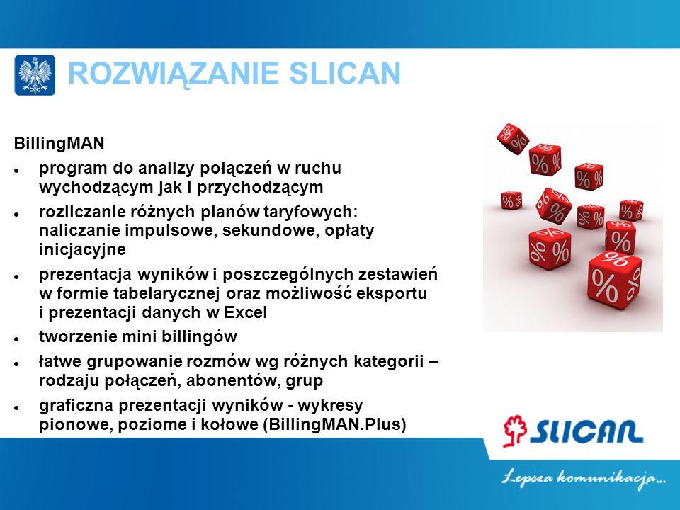 ROZWIĄZANIE SLICAN BillingMAN program do analizy połączeń w ruchu wychodzącym jak i przychodzącym rozliczanie różnych planów taryfowych: naliczanie im