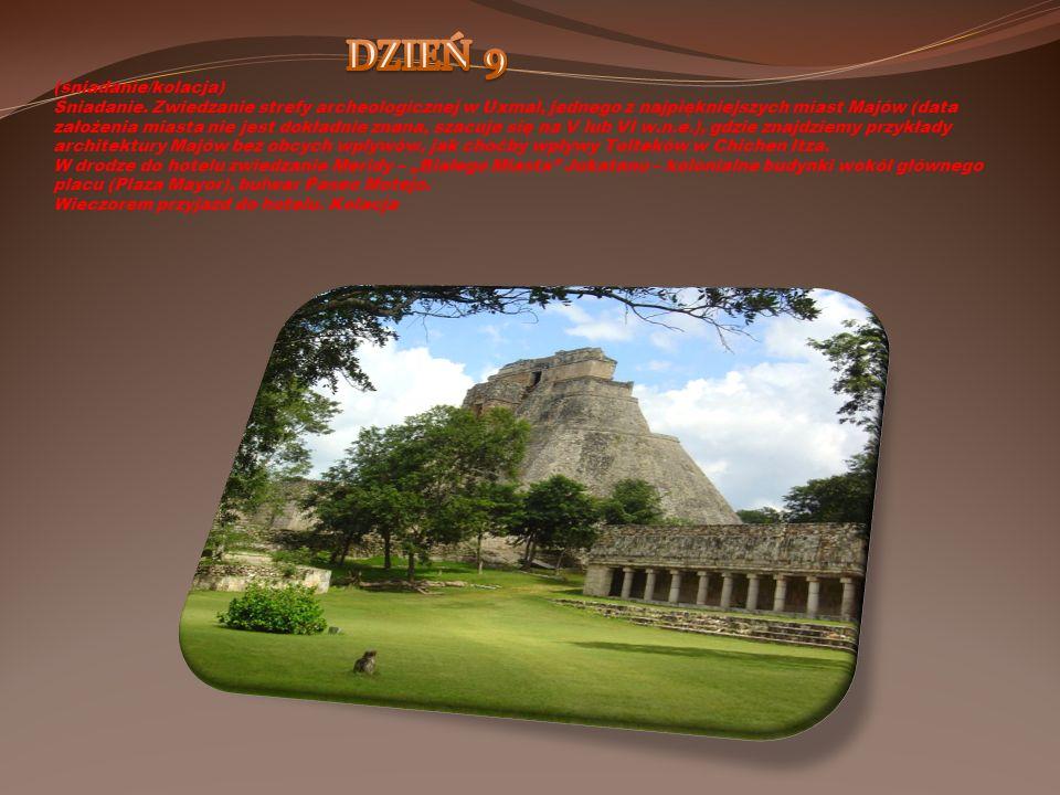 (śniadanie/kolacja) Śniadanie. Zwiedzanie strefy archeologicznej w Uxmal, jednego z najpiękniejszych miast Majów (data założenia miasta nie jest dokła