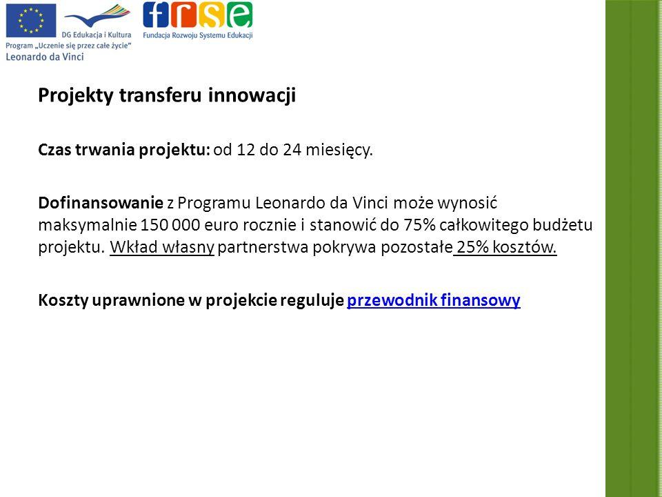 Projekty transferu innowacji Czas trwania projektu: od 12 do 24 miesięcy.