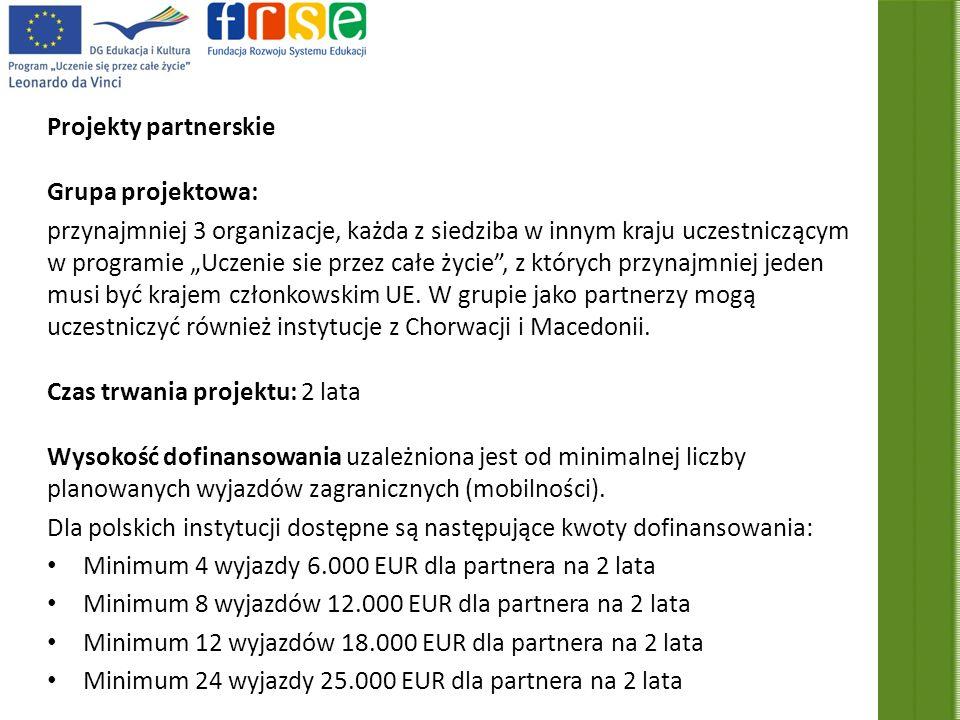 Projekty partnerskie Grupa projektowa: przynajmniej 3 organizacje, każda z siedziba w innym kraju uczestniczącym w programie Uczenie sie przez całe życie, z których przynajmniej jeden musi być krajem członkowskim UE.