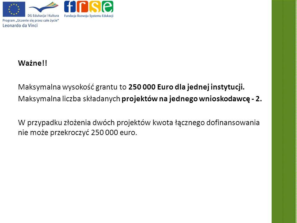 Ważne!. Maksymalna wysokość grantu to 250 000 Euro dla jednej instytucji.