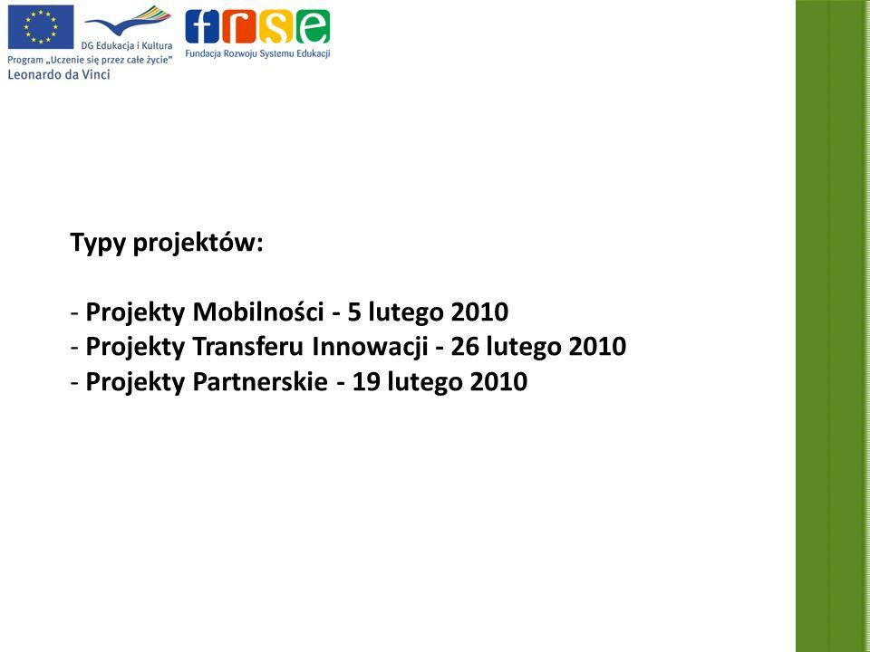 Typy projektów: - Projekty Mobilności - 5 lutego 2010 - Projekty Transferu Innowacji - 26 lutego 2010 - Projekty Partnerskie - 19 lutego 2010