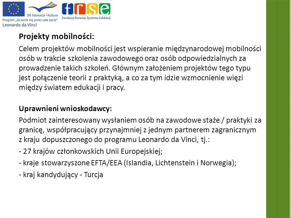 Projekty mobilności Rodzaje projektów: 1.