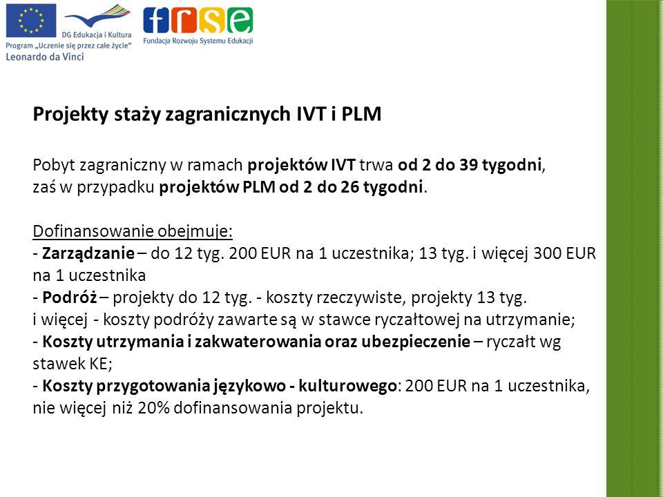 Projekty staży zagranicznych IVT i PLM Pobyt zagraniczny w ramach projektów IVT trwa od 2 do 39 tygodni, zaś w przypadku projektów PLM od 2 do 26 tygodni.