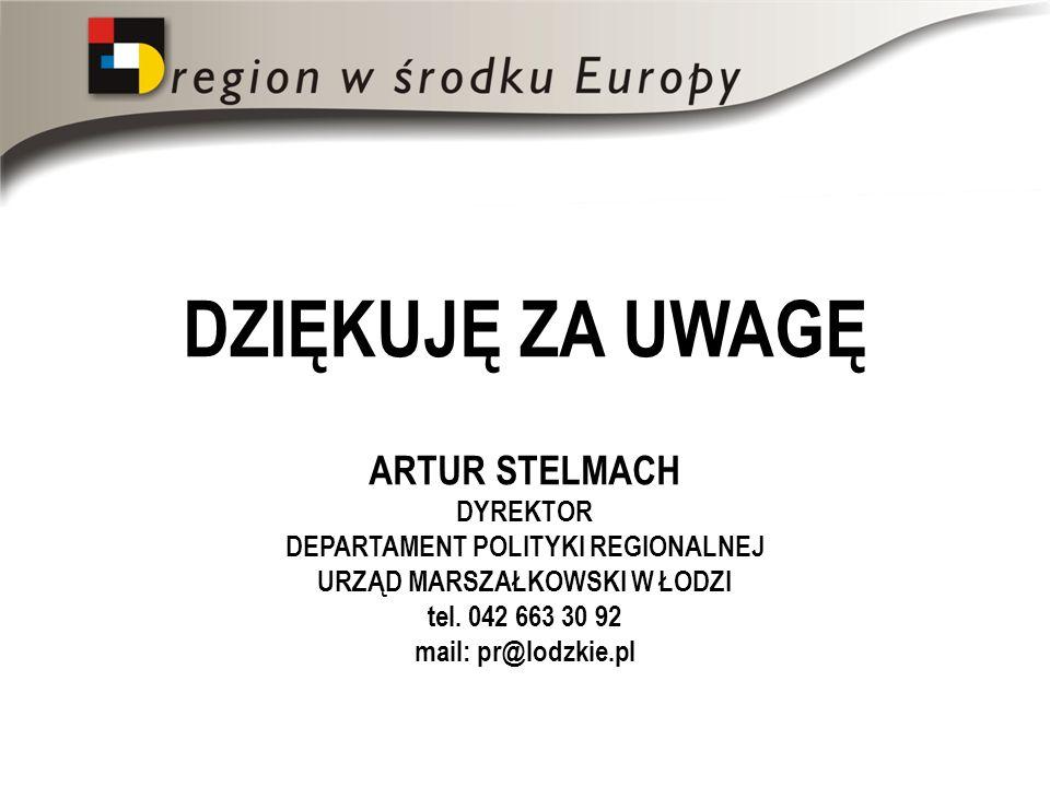 DZIĘKUJĘ ZA UWAGĘ ARTUR STELMACH DYREKTOR DEPARTAMENT POLITYKI REGIONALNEJ URZĄD MARSZAŁKOWSKI W ŁODZI tel. 042 663 30 92 mail: pr@lodzkie.pl