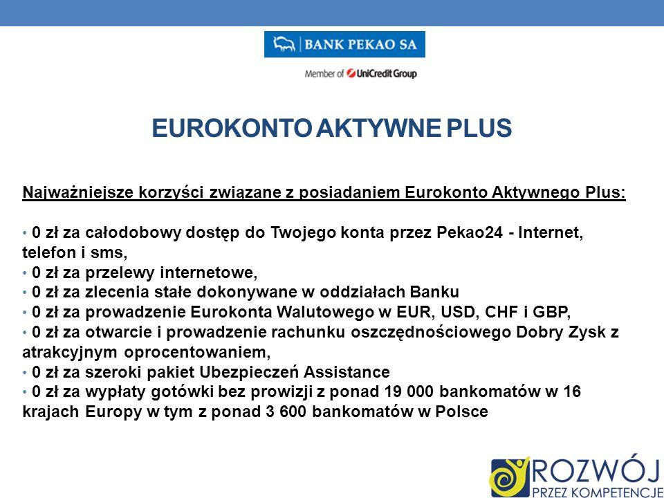 EUROKONTO AKTYWNE PLUS Najważniejsze korzyści związane z posiadaniem Eurokonto Aktywnego Plus: 0 zł za całodobowy dostęp do Twojego konta przez Pekao24 - Internet, telefon i sms, 0 zł za przelewy internetowe, 0 zł za zlecenia stałe dokonywane w oddziałach Banku 0 zł za prowadzenie Eurokonta Walutowego w EUR, USD, CHF i GBP, 0 zł za otwarcie i prowadzenie rachunku oszczędnościowego Dobry Zysk z atrakcyjnym oprocentowaniem, 0 zł za szeroki pakiet Ubezpieczeń Assistance 0 zł za wypłaty gotówki bez prowizji z ponad 19 000 bankomatów w 16 krajach Europy w tym z ponad 3 600 bankomatów w Polsce