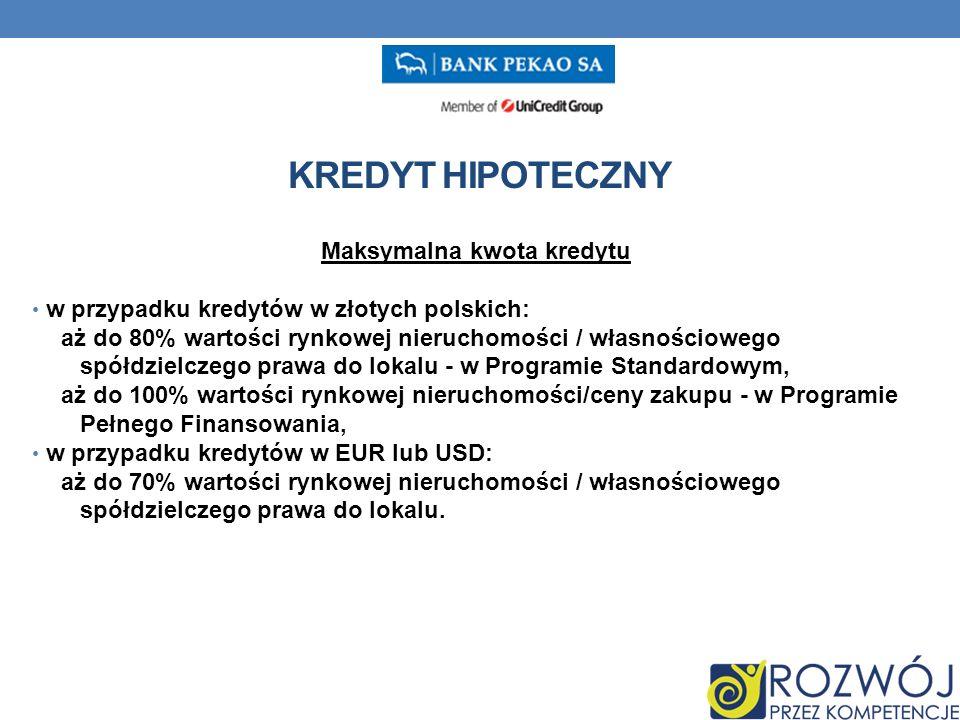 Maksymalna kwota kredytu w przypadku kredytów w złotych polskich: aż do 80% wartości rynkowej nieruchomości / własnościowego spółdzielczego prawa do lokalu - w Programie Standardowym, aż do 100% wartości rynkowej nieruchomości/ceny zakupu - w Programie Pełnego Finansowania, w przypadku kredytów w EUR lub USD: aż do 70% wartości rynkowej nieruchomości / własnościowego spółdzielczego prawa do lokalu.