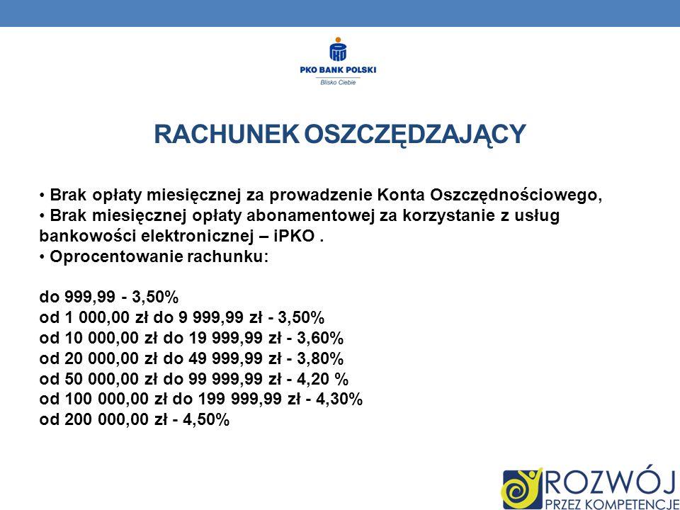 RACHUNEK OSZCZĘDZAJĄCY Brak opłaty miesięcznej za prowadzenie Konta Oszczędnościowego, Brak miesięcznej opłaty abonamentowej za korzystanie z usług bankowości elektronicznej – iPKO.