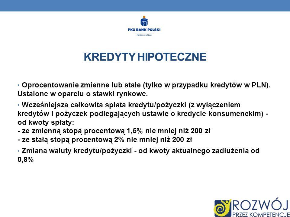 KREDYTY HIPOTECZNE Oprocentowanie zmienne lub stałe (tylko w przypadku kredytów w PLN).