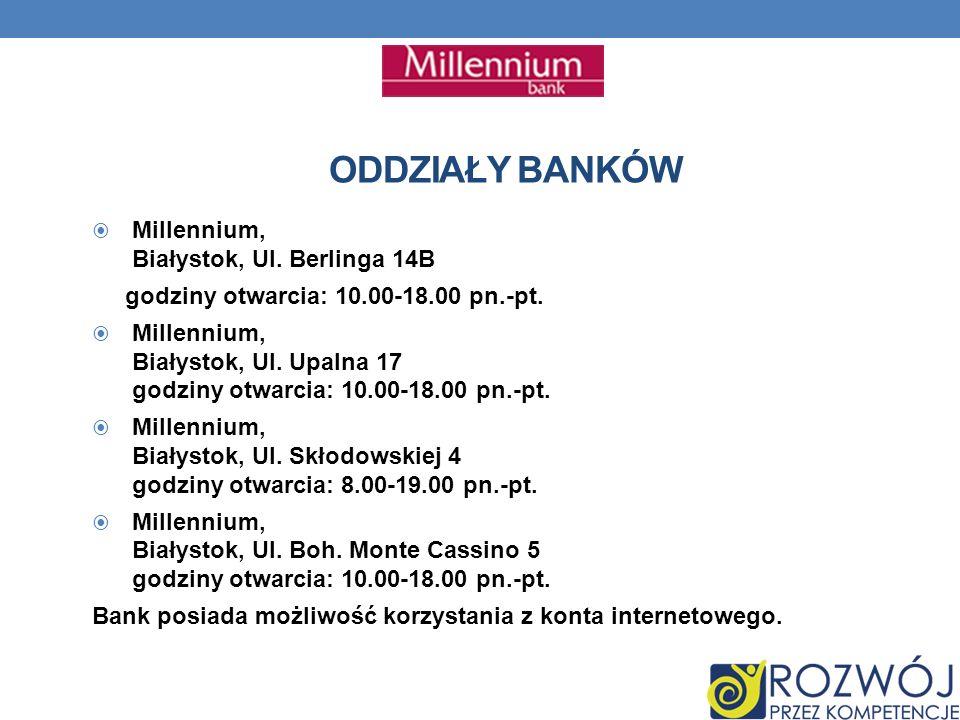 ODDZIAŁY BANKÓW Millennium, Białystok, Ul. Berlinga 14B godziny otwarcia: 10.00-18.00 pn.-pt.