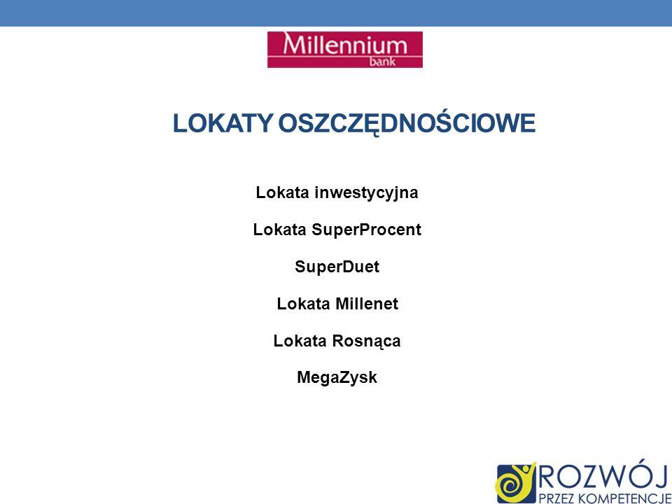 LOKATY OSZCZĘDNOŚCIOWE Lokata inwestycyjna Lokata SuperProcent SuperDuet Lokata Millenet Lokata Rosnąca MegaZysk