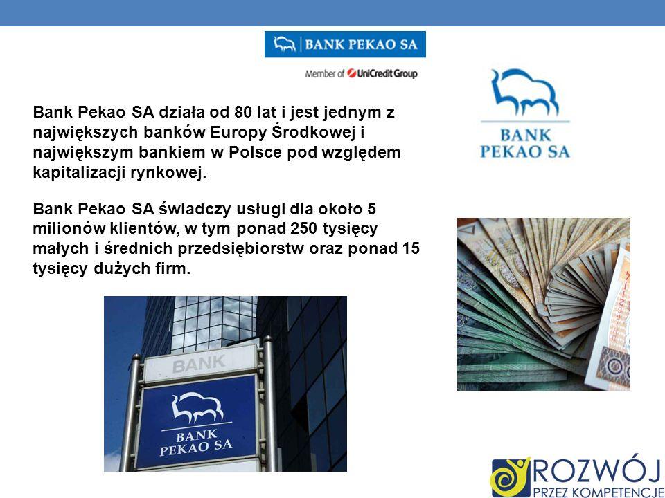 Bank Pekao SA działa od 80 lat i jest jednym z największych banków Europy Środkowej i największym bankiem w Polsce pod względem kapitalizacji rynkowej.