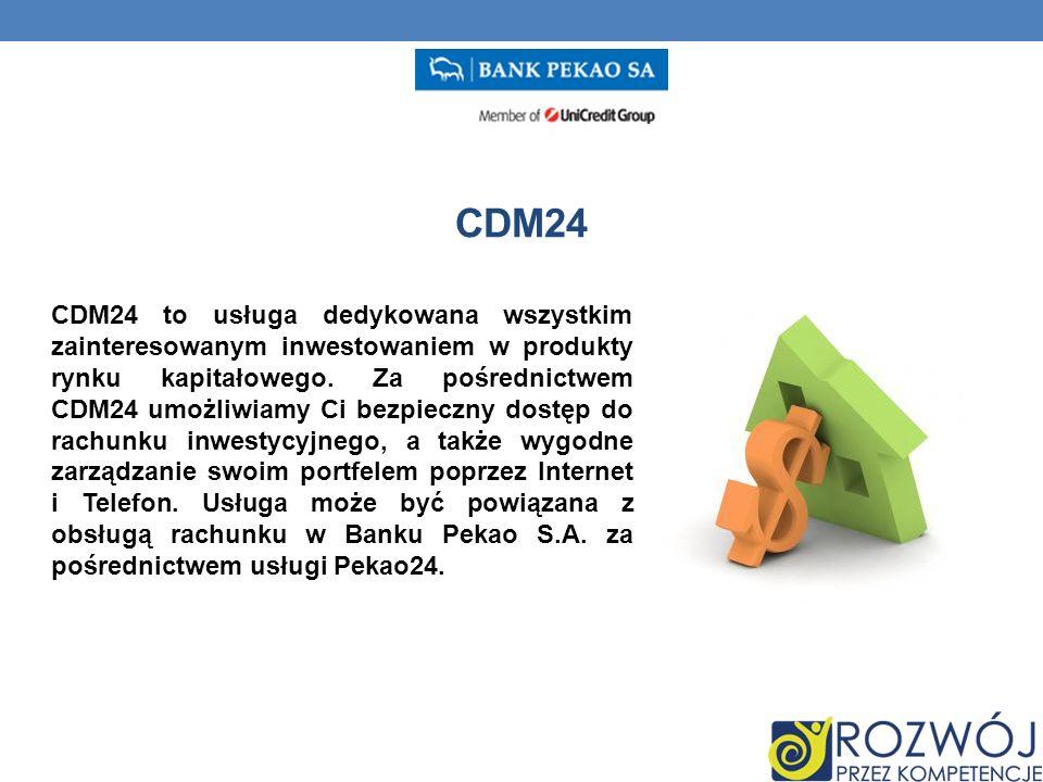 CDM24 CDM24 to usługa dedykowana wszystkim zainteresowanym inwestowaniem w produkty rynku kapitałowego.