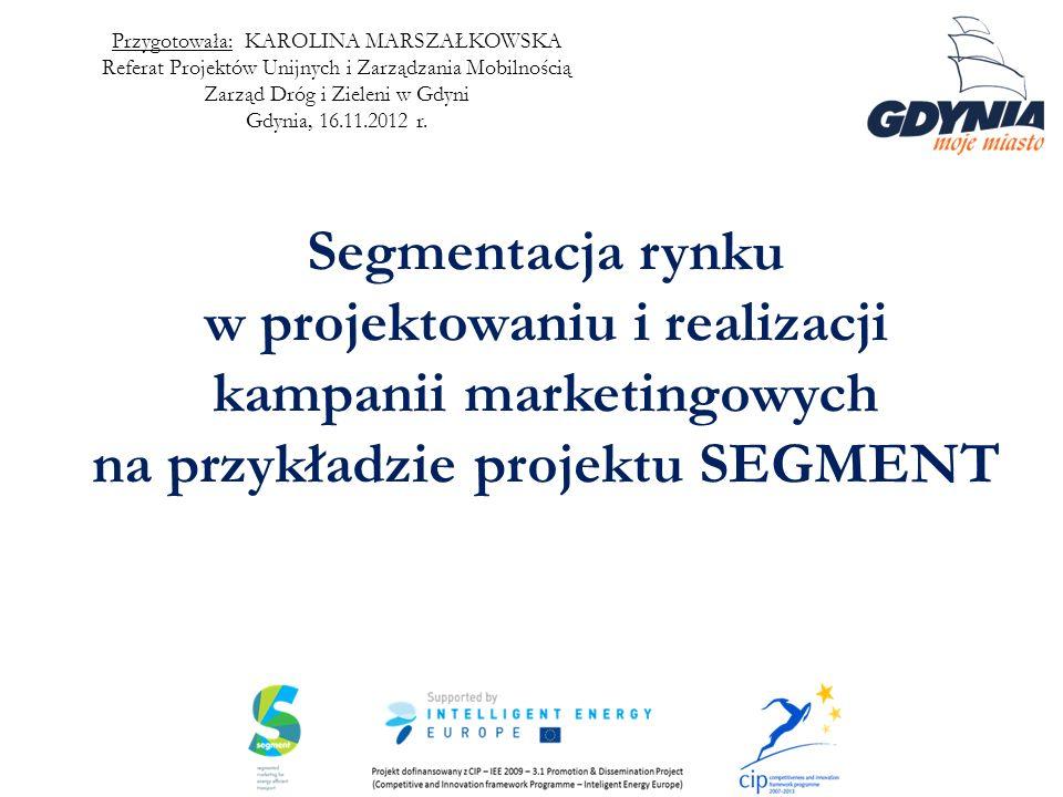 Segmentacja rynku w projektowaniu i realizacji kampanii marketingowych na przykładzie projektu SEGMENT Przygotowała: KAROLINA MARSZAŁKOWSKA Referat Pr