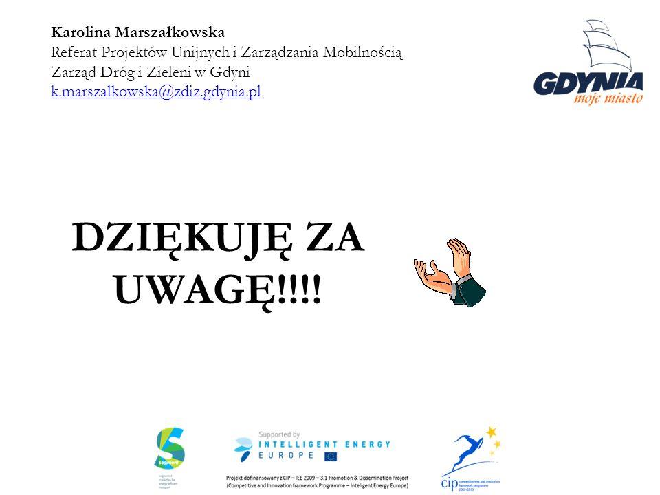 Karolina Marszałkowska Referat Projektów Unijnych i Zarządzania Mobilnością Zarząd Dróg i Zieleni w Gdyni k.marszalkowska@zdiz.gdynia.pl k.marszalkows