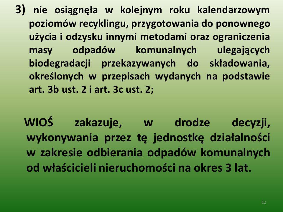 3) nie osiągnęła w kolejnym roku kalendarzowym poziomów recyklingu, przygotowania do ponownego użycia i odzysku innymi metodami oraz ograniczenia masy