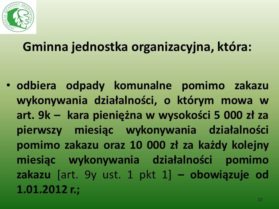 Gminna jednostka organizacyjna, która: odbiera odpady komunalne pomimo zakazu wykonywania działalności, o którym mowa w art. 9k – kara pieniężna w wys