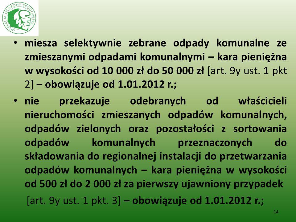 miesza selektywnie zebrane odpady komunalne ze zmieszanymi odpadami komunalnymi – kara pieniężna w wysokości od 10 000 zł do 50 000 zł [art. 9y ust. 1