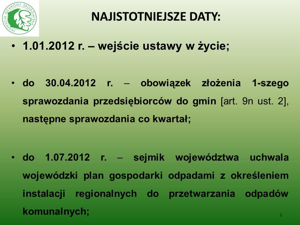 NAJISTOTNIEJSZE DATY: 1.01.2012 r. – wejście ustawy w życie; do 30.04.2012 r. – obowiązek złożenia 1-szego sprawozdania przedsiębiorców do gmin [art.