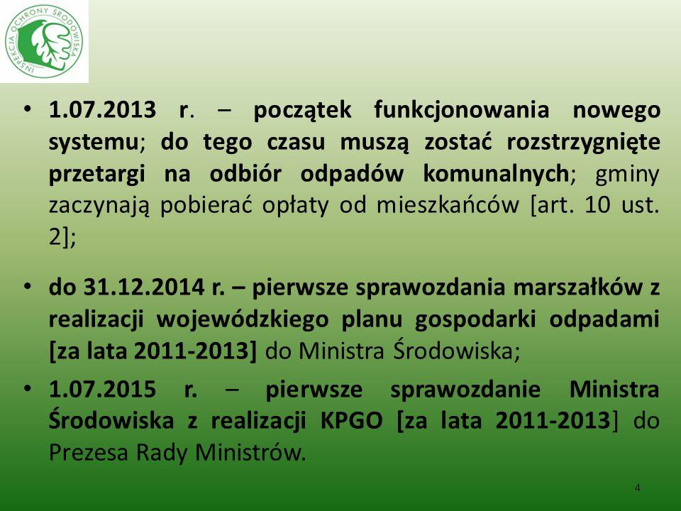 1.07.2013 r. – początek funkcjonowania nowego systemu; do tego czasu muszą zostać rozstrzygnięte przetargi na odbiór odpadów komunalnych; gminy zaczyn