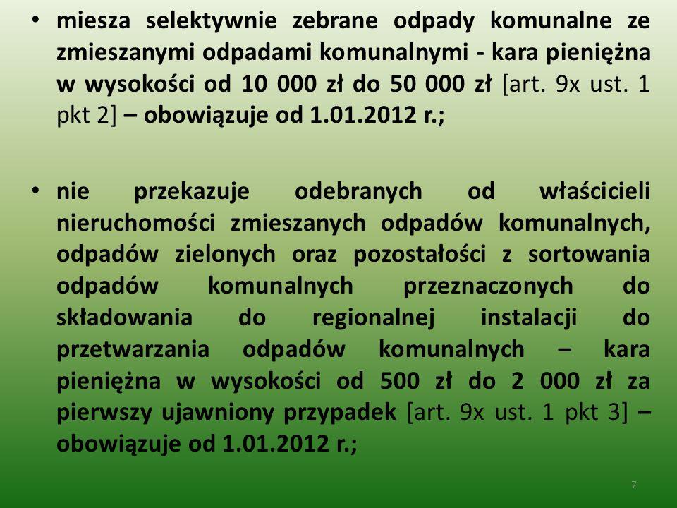 miesza selektywnie zebrane odpady komunalne ze zmieszanymi odpadami komunalnymi - kara pieniężna w wysokości od 10 000 zł do 50 000 zł [art. 9x ust. 1