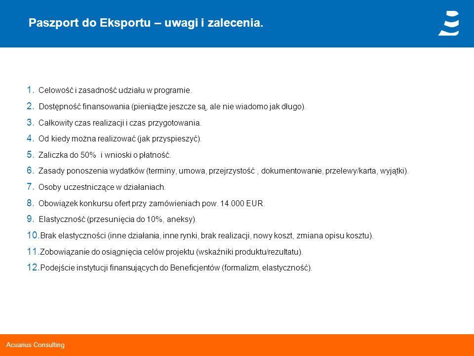 Acuarius Consulting Paszport do Eksportu – uwagi i zalecenia. 1. Celowość i zasadność udziału w programie. 2. Dostępność finansowania (pieniądze jeszc