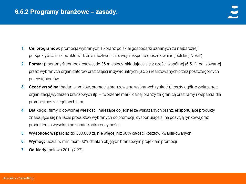 Acuarius Consulting 6.5.2 Programy branżowe – zasady. 1.Cel programów: promocja wybranych 15 branż polskiej gospodarki uznanych za najbardziej perspek