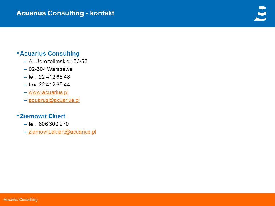 Acuarius Consulting Acuarius Consulting - kontakt Acuarius Consulting – Al. Jerozolimskie 133/53 – 02-304 Warszawa – tel. 22 412 65 48 – fax. 22 412 6